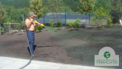 Гидропосев смеси семян и удобрений